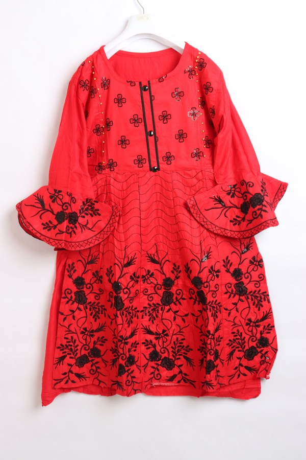 Beautiful Embroidery Linen stitched frock shirts for women 1009-1