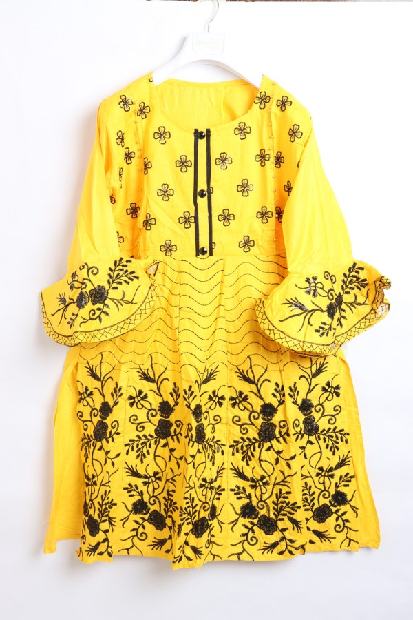 Beautiful Embroidery Linen stitched frock shirts for women 1009-3