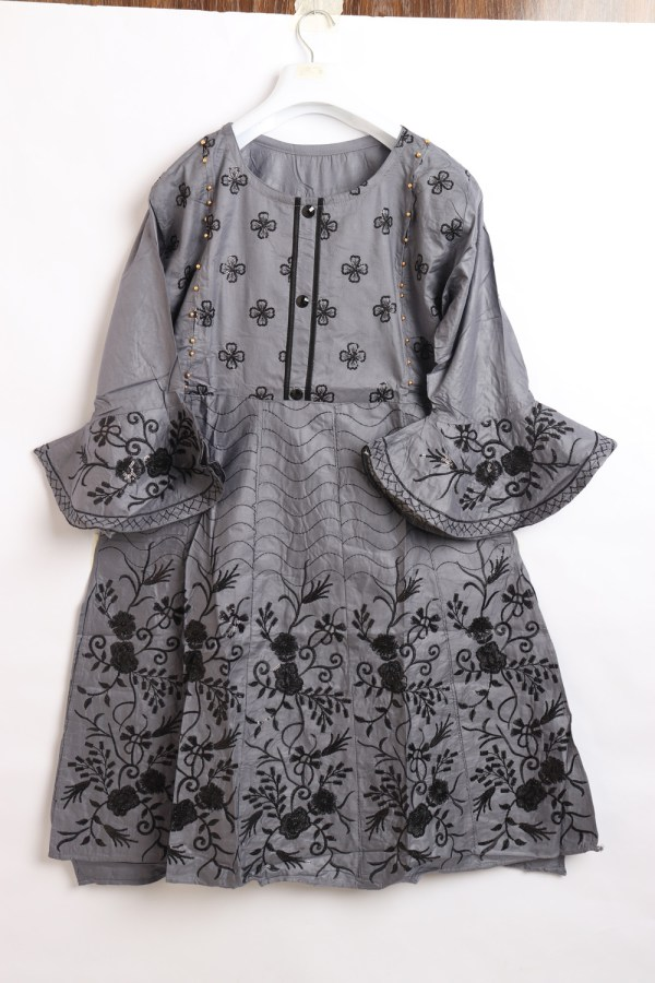 Beautiful Embroidery Linen stitched frock shirts for women 1009-4