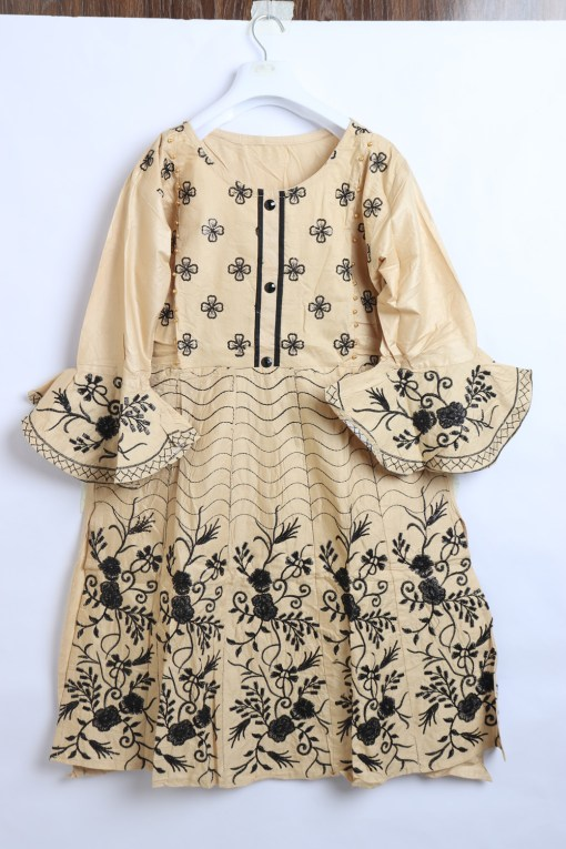 Beautiful Embroidery Linen stitched frock shirts for women 1009-5