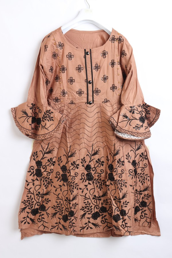 Beautiful Embroidery Linen stitched frock shirts for women 1009-7