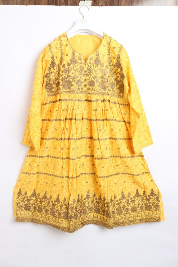 Trendy Embroidered Linen stitched Frock for women latest winter collection 1011-1
