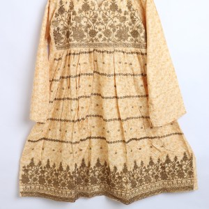 Trendy Embroidered Linen stitched Frock for women latest winter collection 1011-3