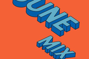 the words june mix in 3d letters on an orange background
