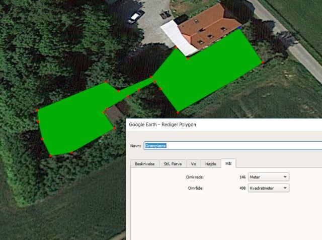 Størrelse på græsplæne