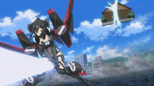 Yes, this was a battle between a light-saber wielding mecha-girl and a vegetable stand.