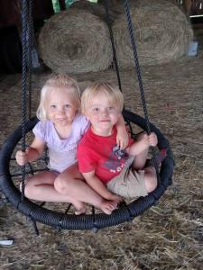 Fun on the barn swing
