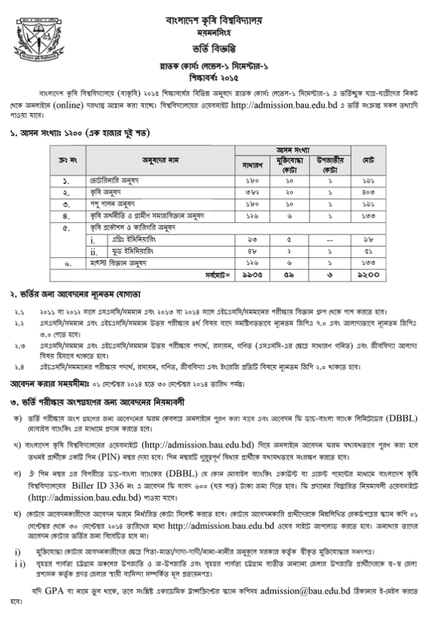 Bangladesh Agricultural University Admission 2014-15 page-1