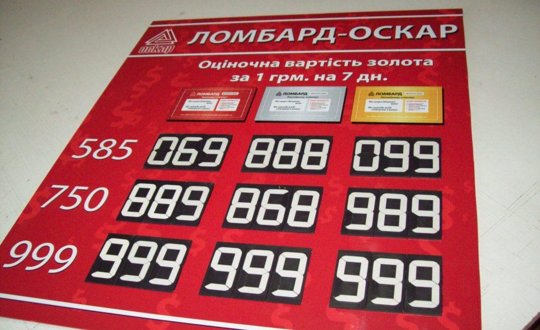 Заказать табло обмена валют и драгметалов для ломбарда