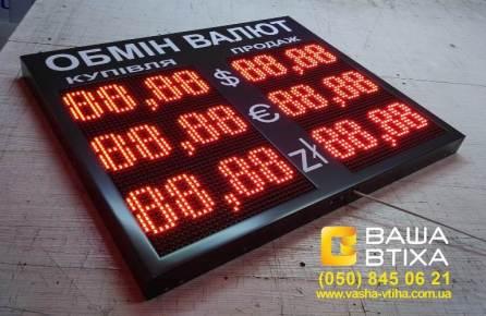 Изготовление табло обмен валют в Киеве