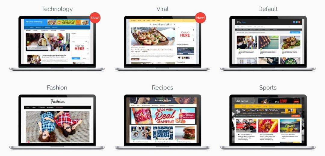 demo layouts adsense wordpress theme
