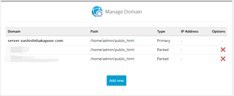 domains management interserver