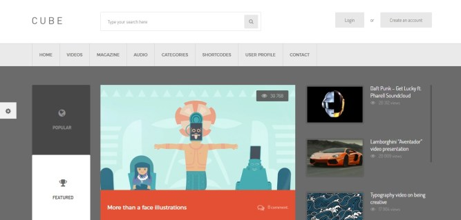 Cube wordpress theme for viral site