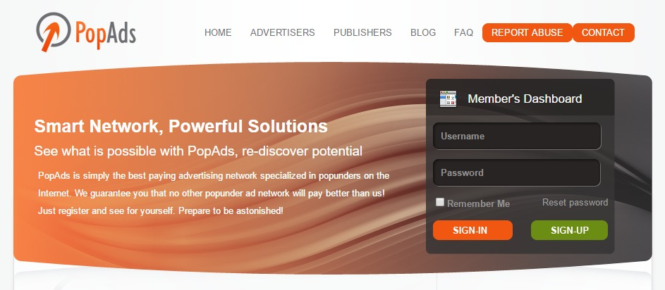 popads network for popunder advertising