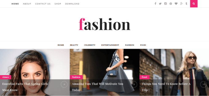 Fashion blogger template