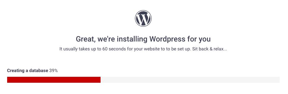 wordpress being installed