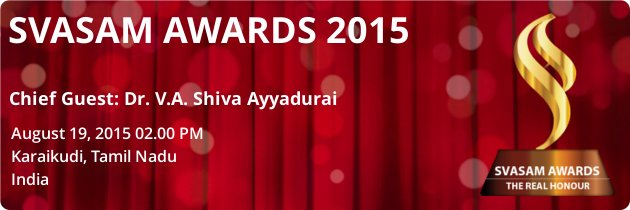 Dr. V.A. Shiva Ayyadurai Speaks At Svasam Awards 2015