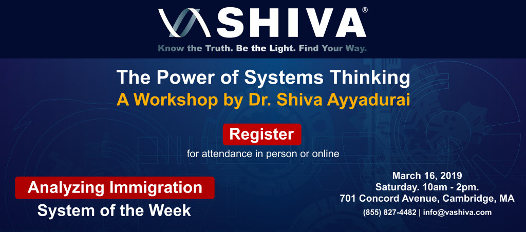 The Power Of Systems Thinking Workshop By Dr. Shiva Ayyadurai – March 16, 2019