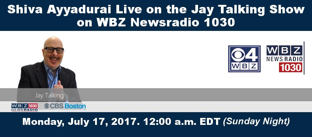 Shiva Ayyadurai On The Jay Talking Show On WBZ Newsradio 1030