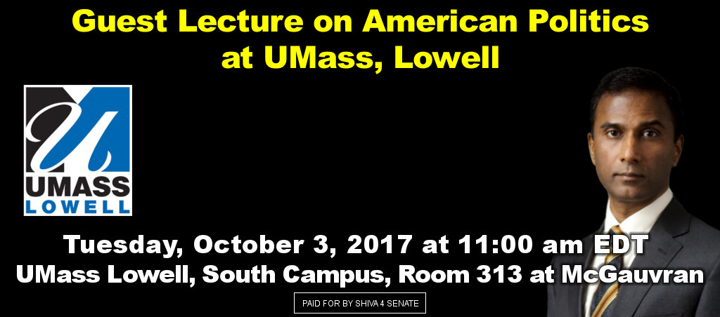 Dr. Shiva Ayyadurai Delivers Guest Lecture On American Politics At UMass Lowell