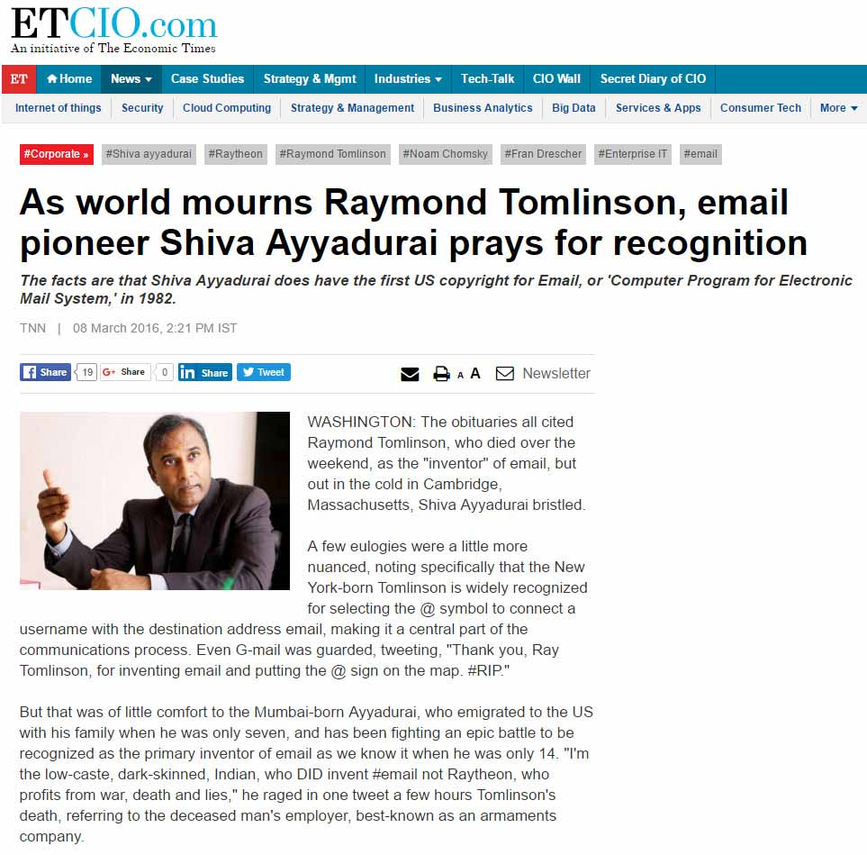 As World Mourns Raymond Tomlinson, Email Pioneer Shiva Ayyadurai Prays For Recognition
