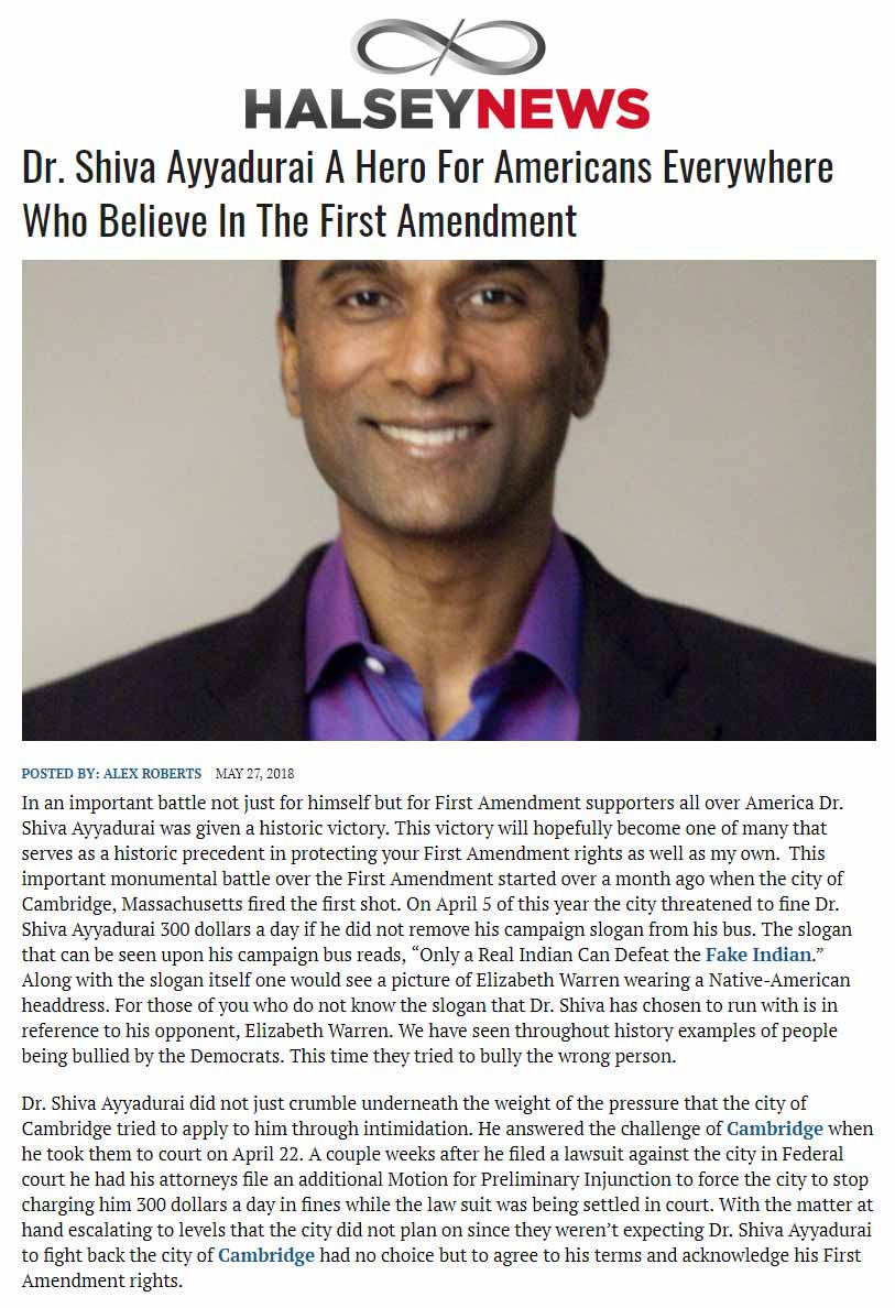 Dr. Shiva Ayyadurai A Hero For Americans Everywhere Who Believe In The First Amendment