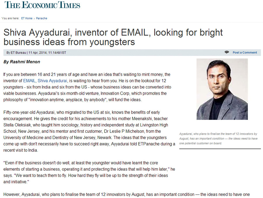 Shiva Ayyadurai, Inventor Of Email, Looking For Bright Business Ideas From Youngsters