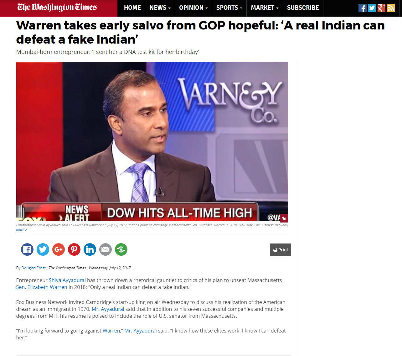 Warren Takes Early Salvo From GOP Hopeful: 'A Real Indian Can Defeat A Fake Indian'