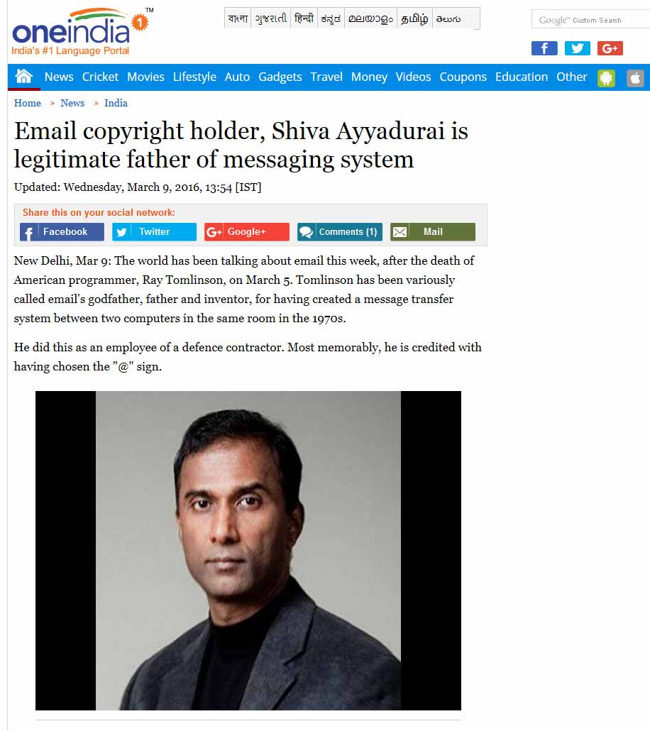 Email Copyright Holder, Shiva Ayyadurai Is Legitimate Father Of Messaging System