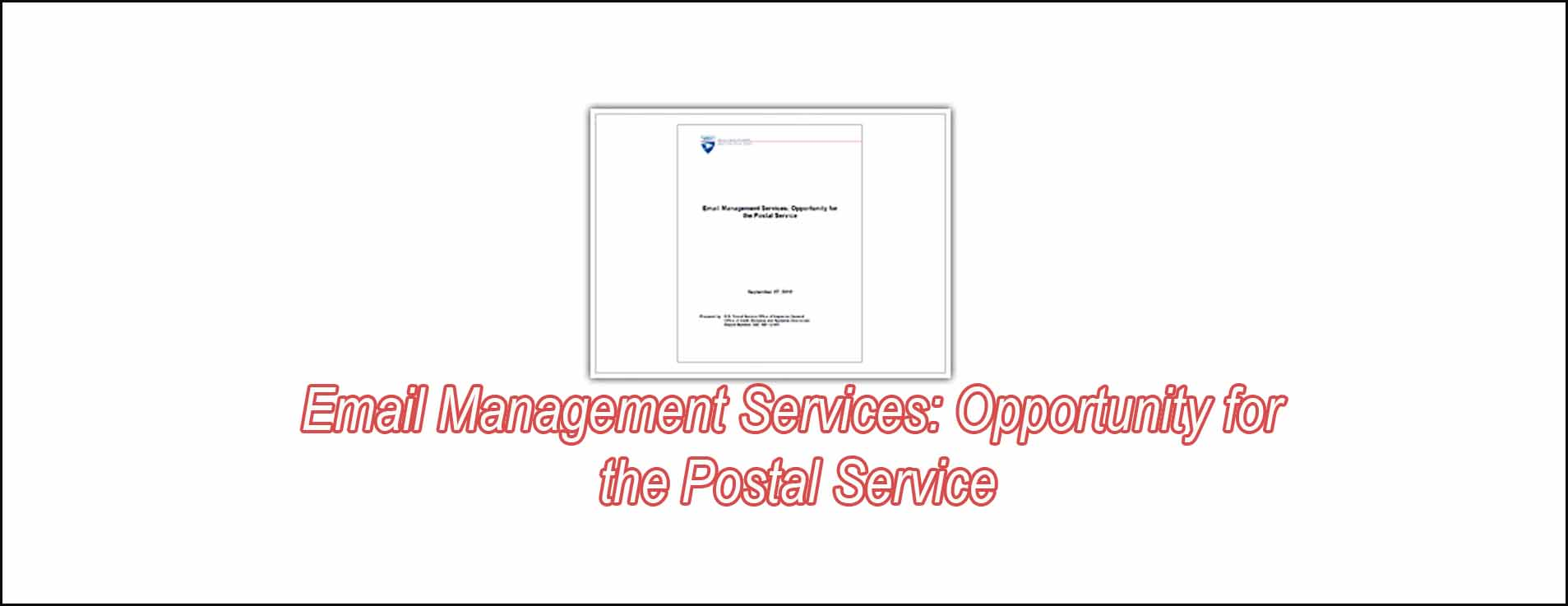 Email Management Services: Opportunity For The Postal Service
