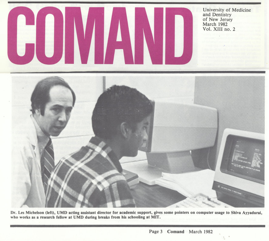 Shiva Ayyadurai Featured In COMAND With His Mentor At UMDNJ, Dr. Les Michelson