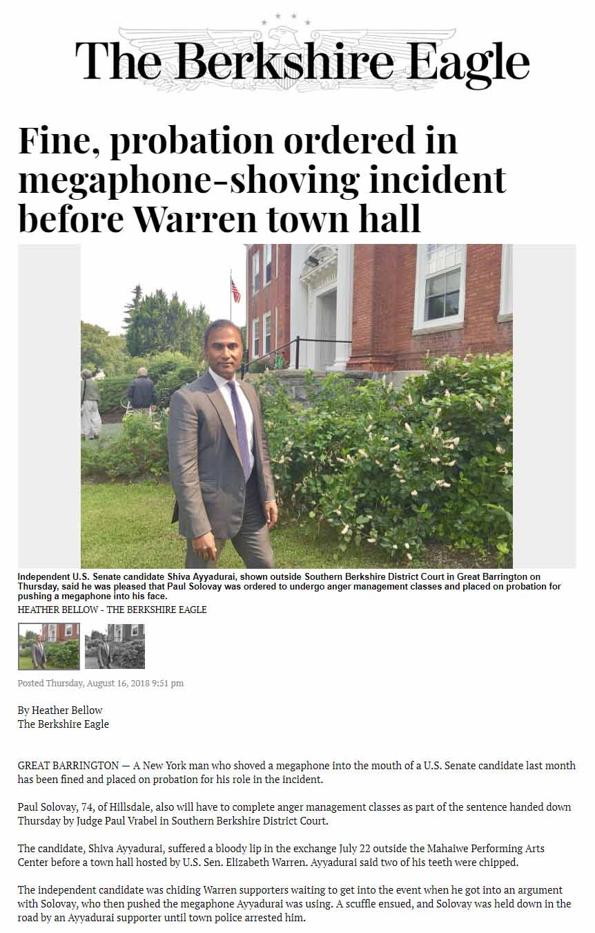 Fine, Probation Ordered In Megaphone-shoving Incident Before Warren Town Hall