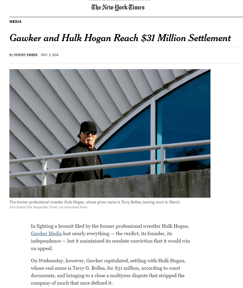 Gawker And Hulk Hogan Reach $31 Million Settlement