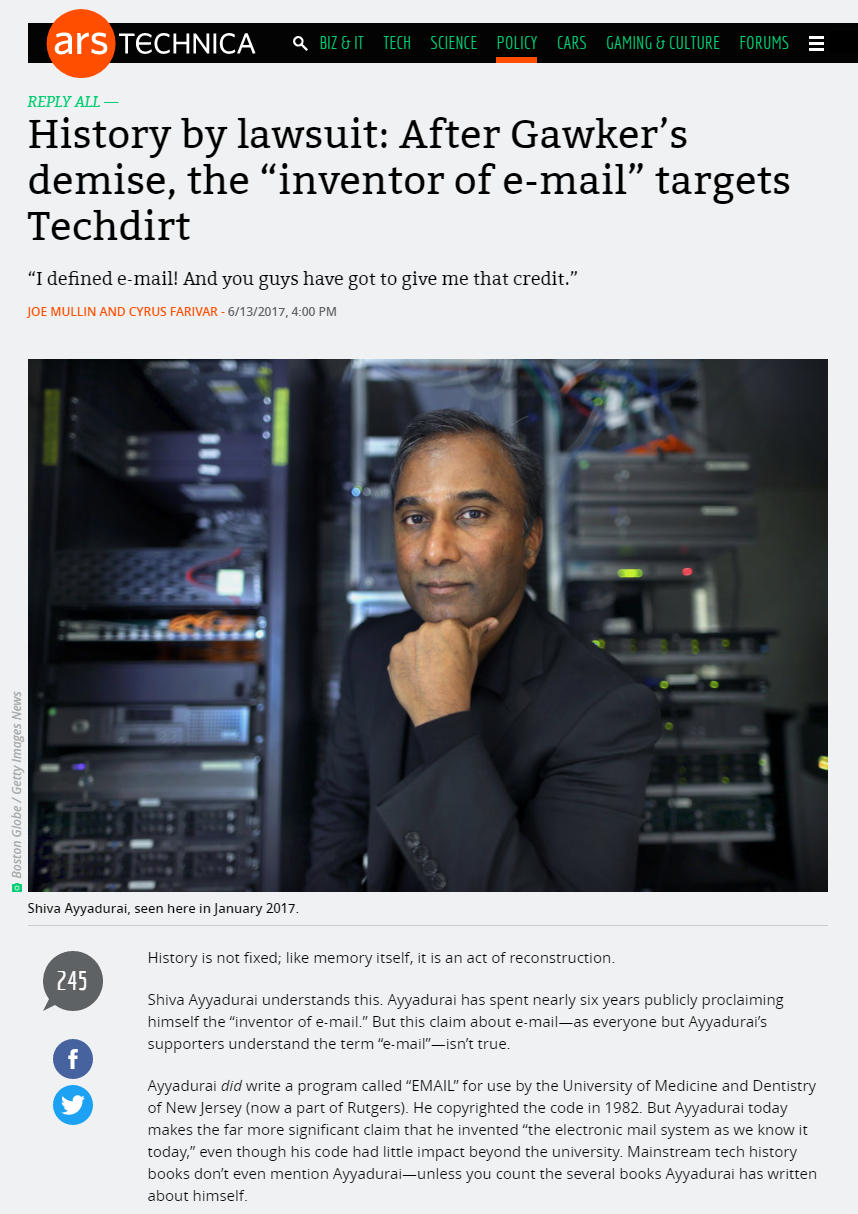 History By Lawsuit: After Gawker's Demise, The Inventor Of E-mail Targets Techdirt