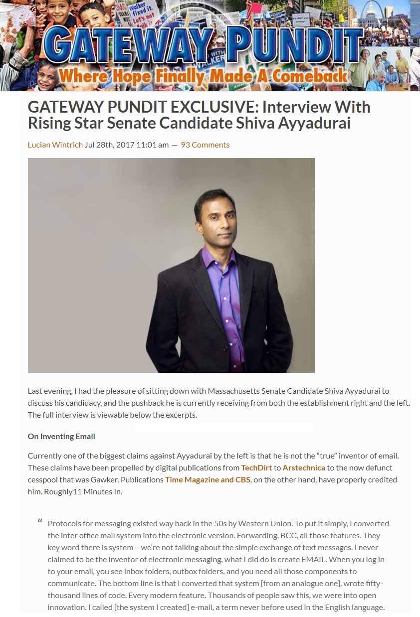 GATEWAY PUNDIT EXCLUSIVE: Interview With Rising Star Senate Candidate Shiva Ayyadurai