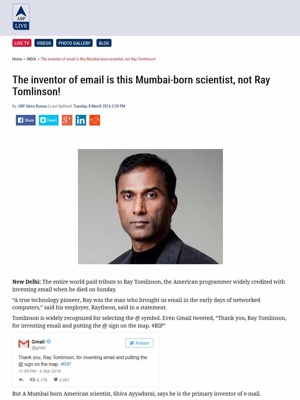The Inventor Of Email Is This Mumbai-born Scientist, Not Ray Tomlinson!