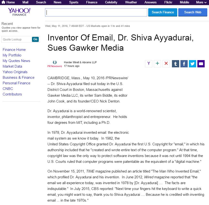 Inventor Of Email, Dr. Shiva Ayyadurai, Sues Gawker Media
