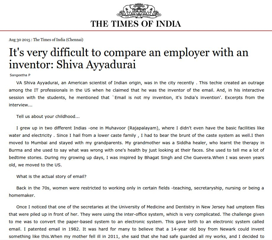 It's Very Difficult To Compare An Employer With An Inventor: Shiva Ayyadurai