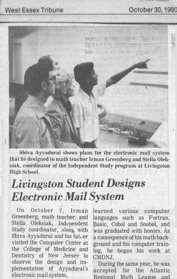 Livingston Student Designs Electronic Mail System