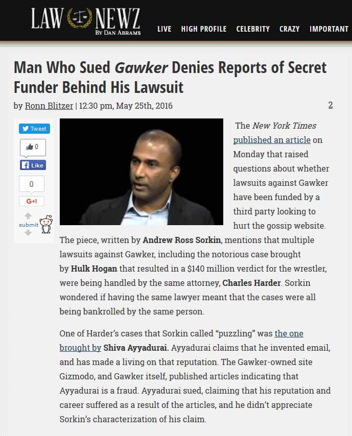 Man Who Sued Gawker Denies Reports Of Secret Funder Behind His Lawsuit