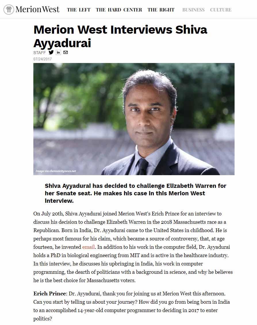 Merion West Interviews Shiva Ayyadurai