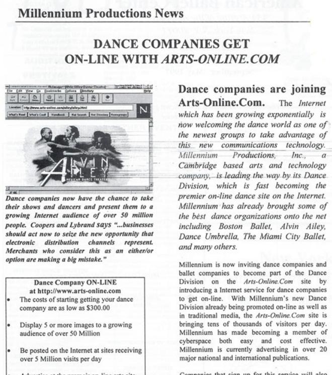 Dance Companies Get Online With Arts-Online.com