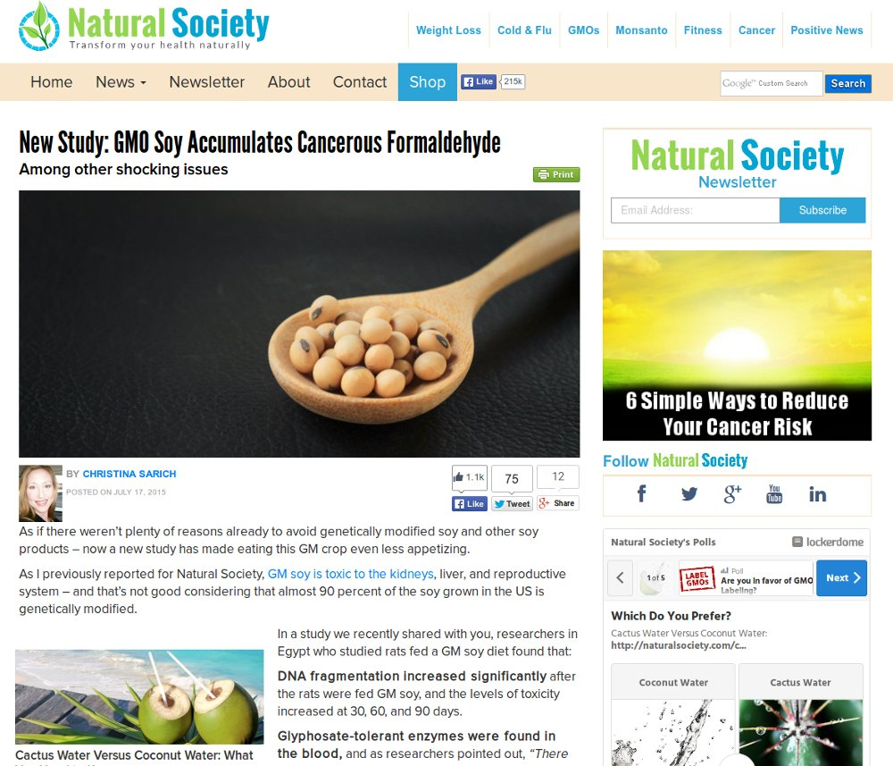 GMO Soy Accumulates Cancerous Formaldehyde