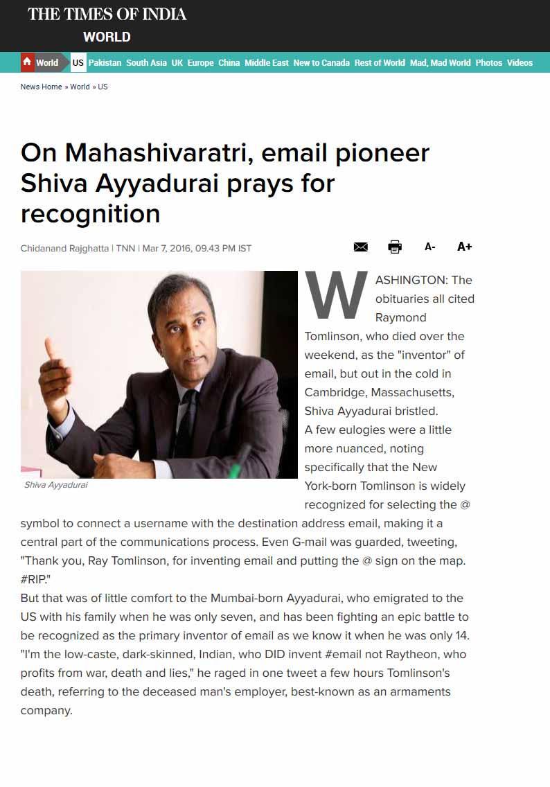 On Mahashivaratri, Email Pioneer Shiva Ayyadurai Prays For Recognition