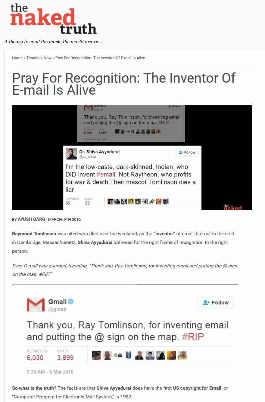 Pray For Recognition: The Inventor Of E-mail Is Alive
