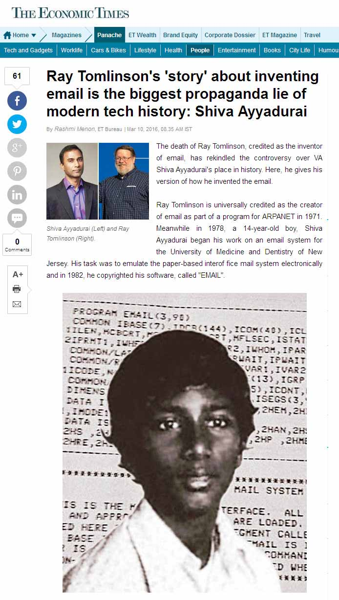 Ray Tomlinson's 'Story' About Inventing Email Is The Biggest Propaganda Lie Of Modern Tech History: Shiva Ayyadurai