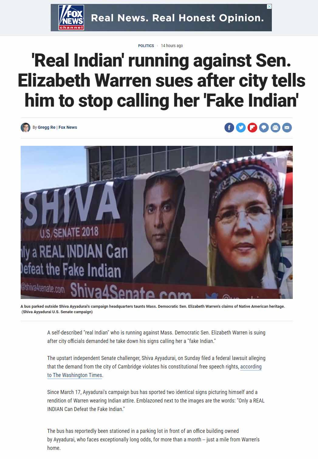 'Real Indian' Running Against Sen. Elizabeth Warren Sues After City Tells Him To Stop Calling Her 'Fake Indian'