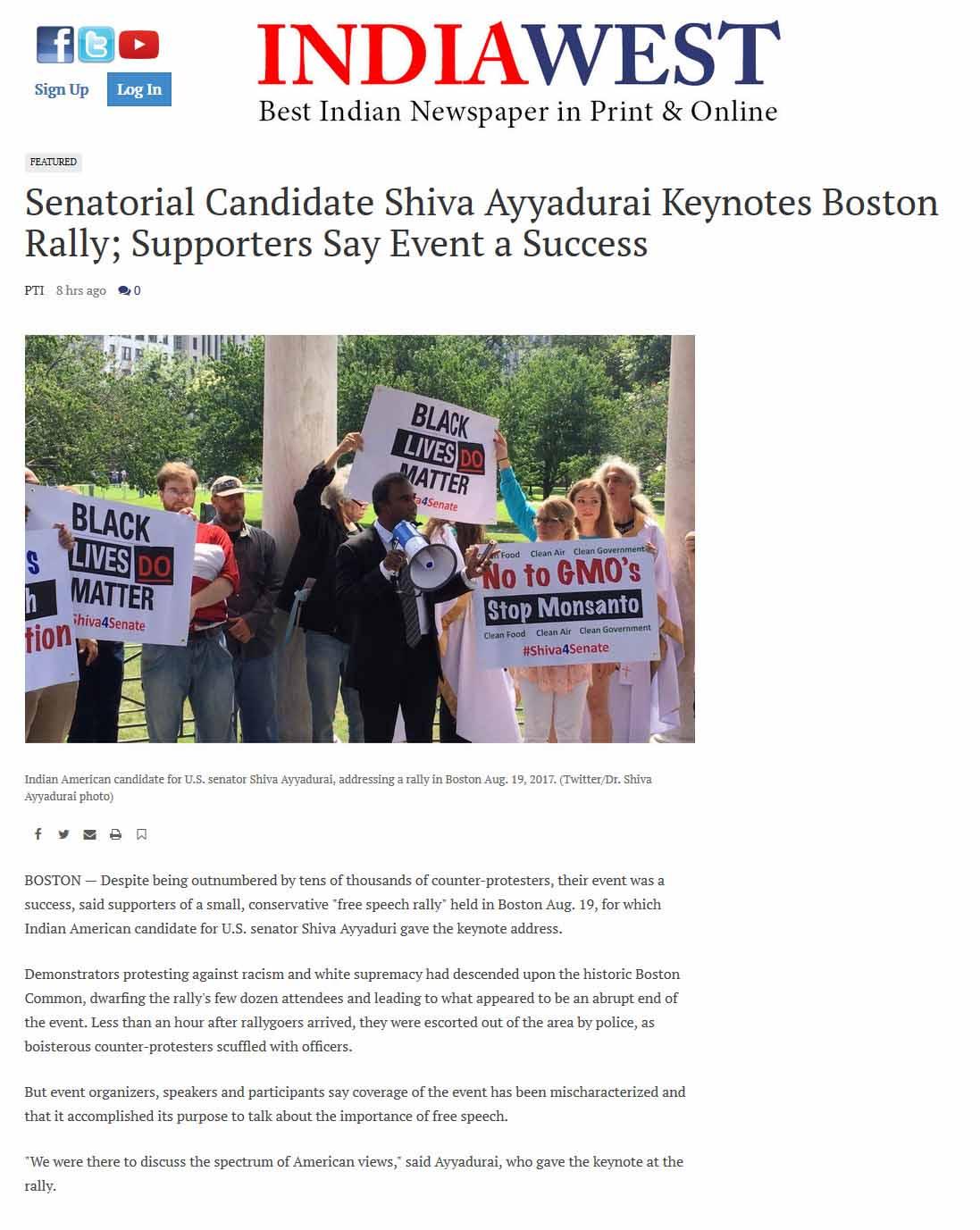 Senatorial Candidate Shiva Ayyadurai Keynotes Boston Rally