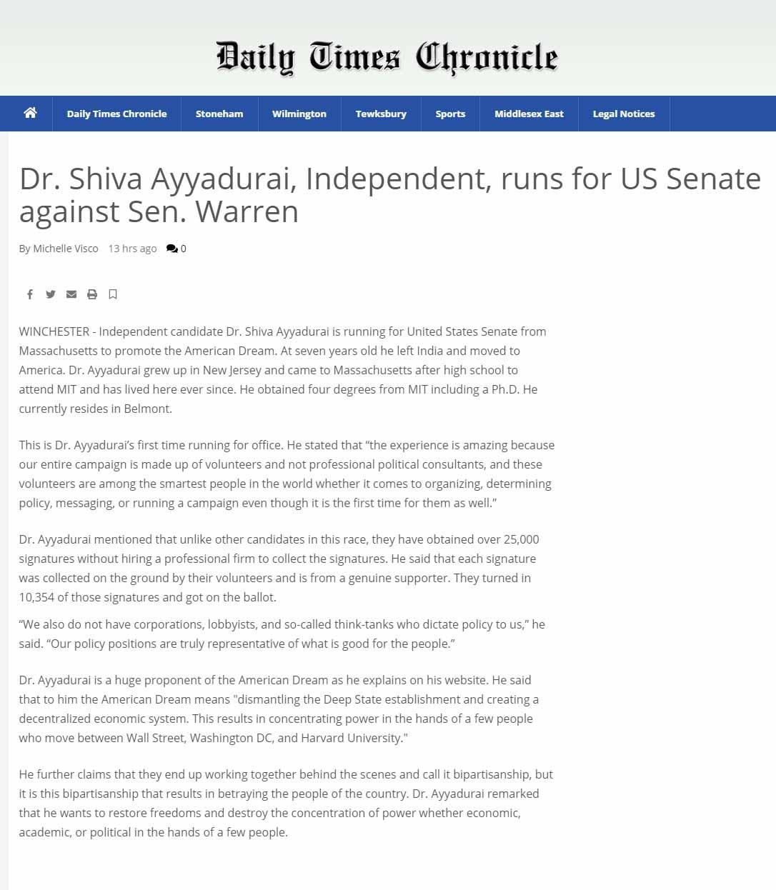 Dr. Shiva Ayyadurai, Independent, Runs For US Senate Against Sen. Warren