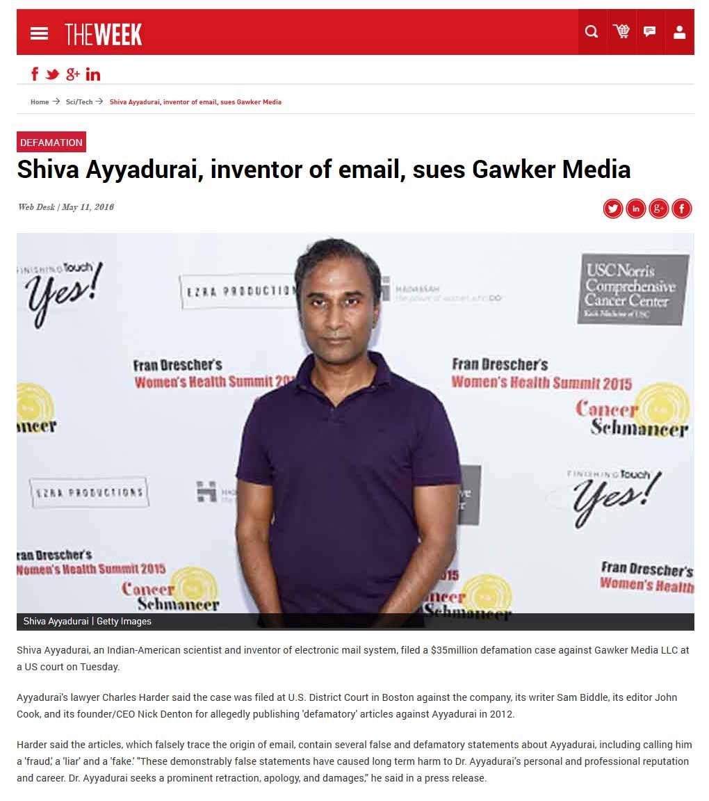 Shiva Ayyadurai, Inventor Of Email, Sues Gawker Media